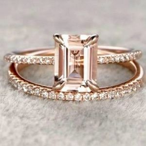Jewelry - 🆕Princess Pink Morganite 18K Rose Gold Ring Set